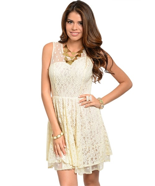 Image of IVORY WITH LACE DRESS