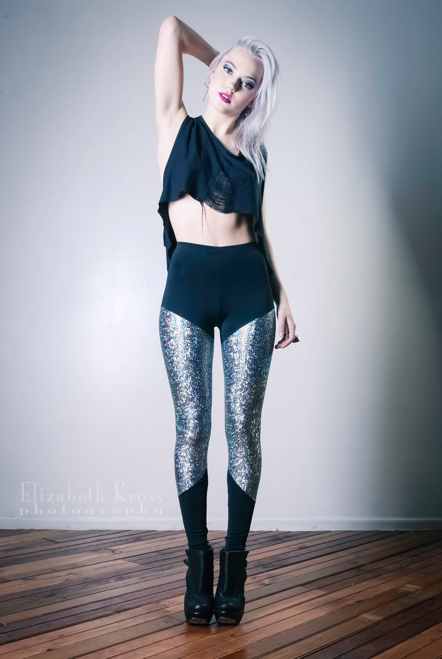 Image of Silver shattered glass leggings