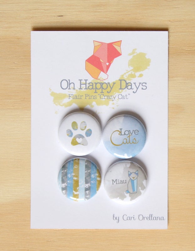 """Image of Flair Pins """"Crazy Cat"""" Scrapbooking Project Life Decoration"""