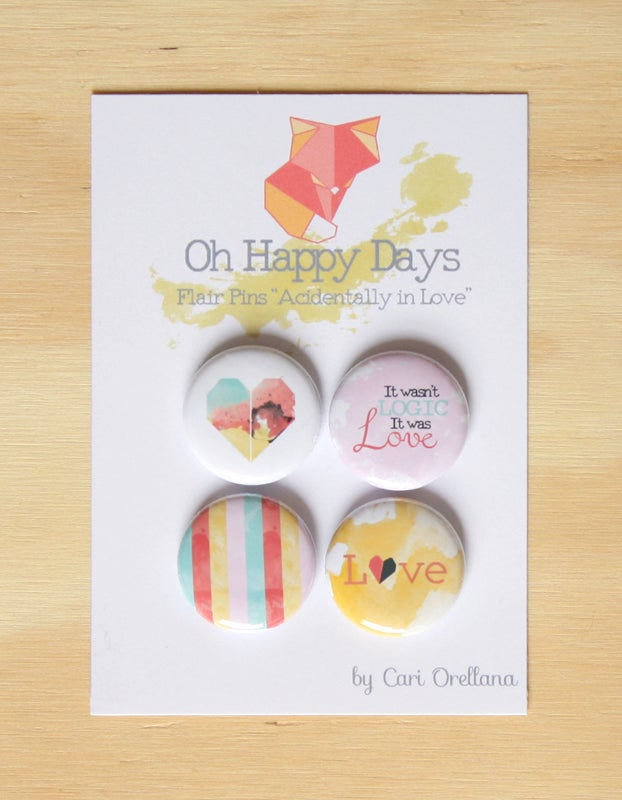 """Image of Flair Pins """"Accidentally in Love"""" Scrapbooking Project Life Decoration"""