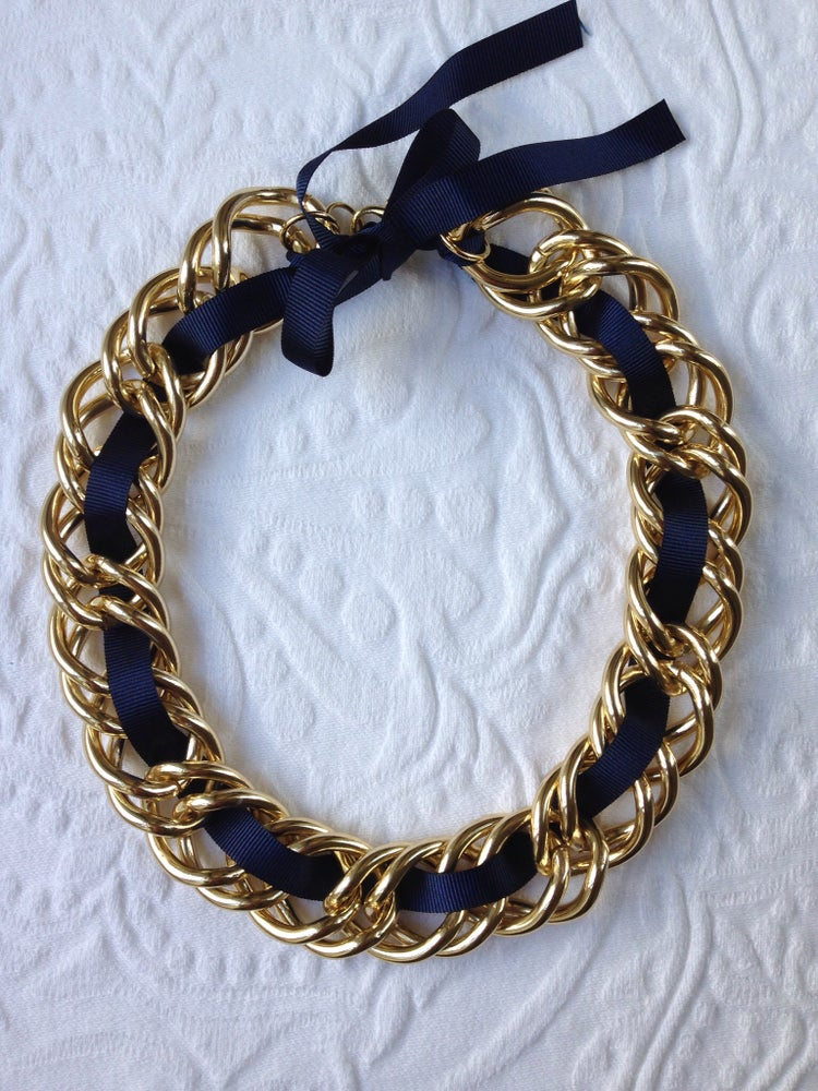 Image of Blue ribbon chunk link necklace