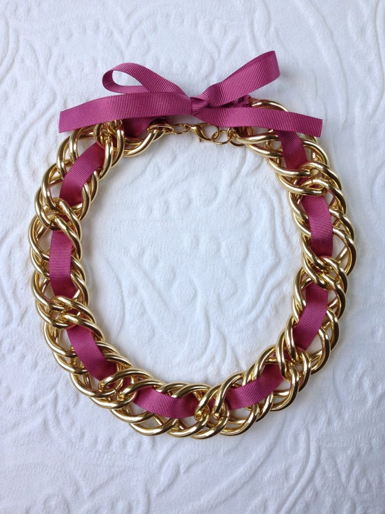 Image of Pink ribbon chunk link necklace