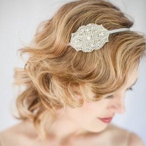 Image of IDINA - Crystal & Pearl Bridal Headband bridal, rhinestone, crystal, veil, wedding, tiara, headpiece
