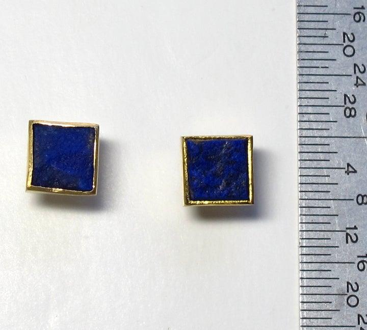 Image of Lapis Rough Square 22k Earring Studs