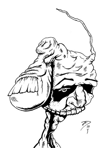 """Image of """"Thumbkin's Cousin"""" Postcard (original art)"""
