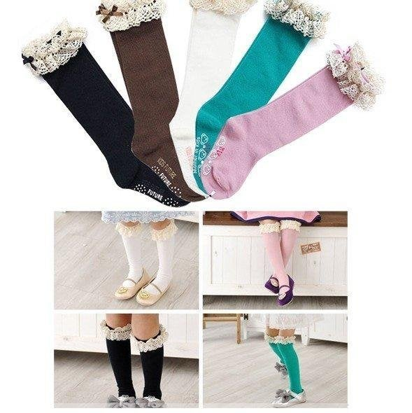 Image of Lace Knee High Boot Socks