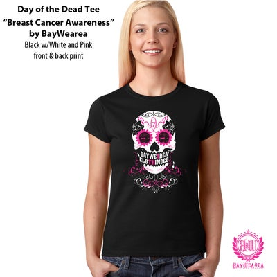 "Image of Day of the Dead Breast Cancer Awareness Womans ""Junior Fit"" Tee Shirt"