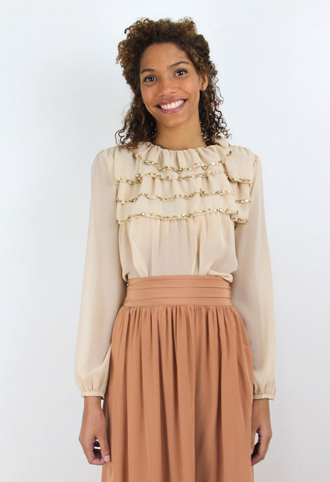 Image of BEIGE EMBROIDERY BLOUSE