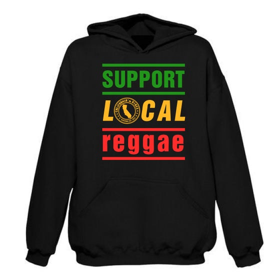 Image of SUPPORT LOCAL REGGAE CLASSIC BLACK HOODIE 50% OFF SALE!!