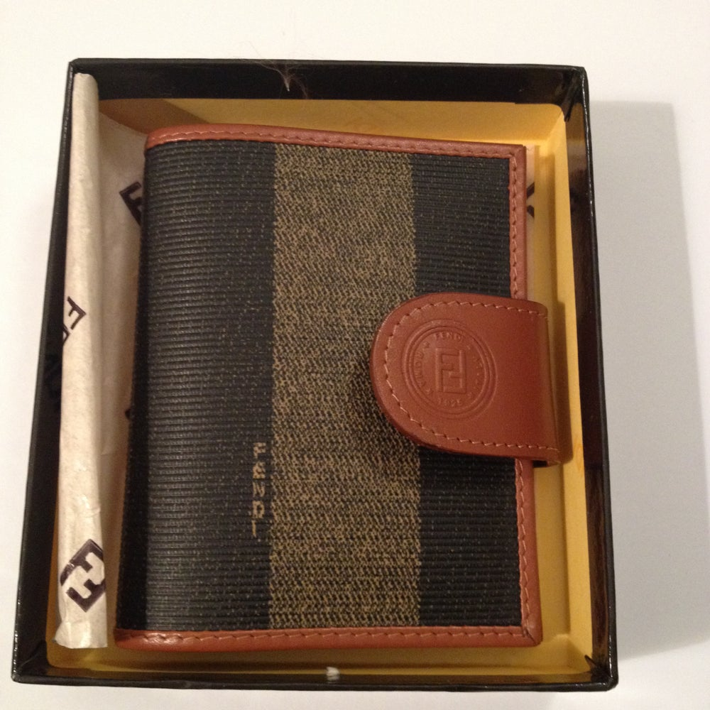 Image of SOLD OUT Fendi Pequin Leather Vintage Card Holder - New in Box