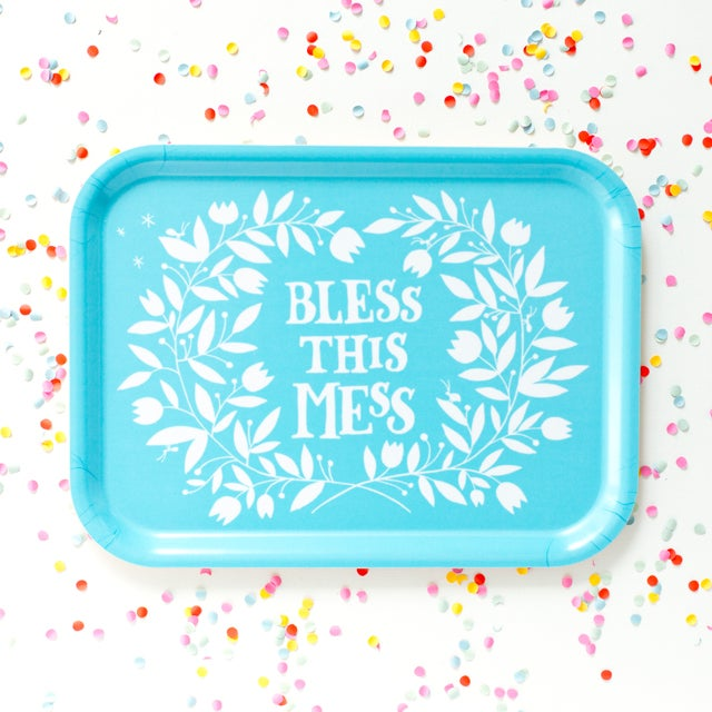 """Image of """"Bless this mess"""" breakfast tray"""