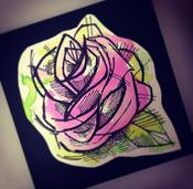 """Image of (Medium) """"Mini"""" PINK Watercolor Rose painting"""