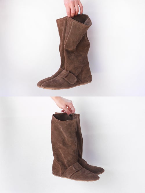 Image of Slouch Boots in Light Brown suede