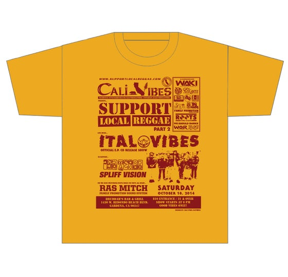 Image of SUPPORT LOCAL REGGAE PART 2 FLYER SHIRT