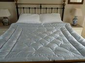 Image of Dupion  Ice Blue Silk Eiderdown With Buttons!