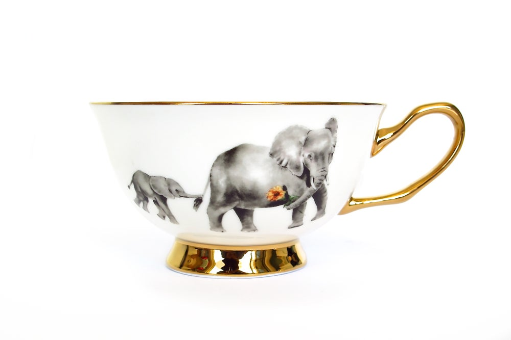 Image of Golden Elephant Tea Cup & Saucer Set