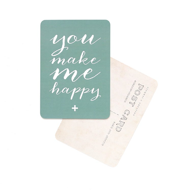 "Image of Carte Postale""YOU MAKE ME HAPPY / GREEN"""