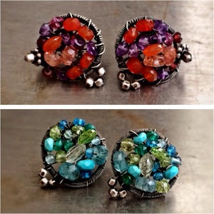 Image of Mosaic Button Earrings