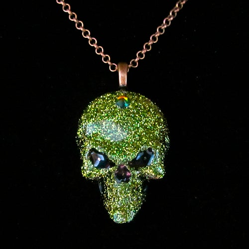 Image of Glitter Resin Skull Pendant