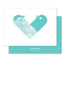 Image of Greeting Card - Love Birds - Teal
