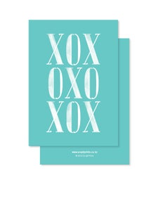 Image of Greeting Card - XOX - Teal