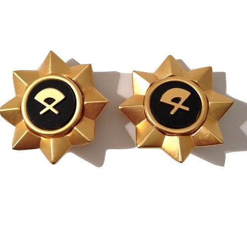 Image of SOLD OUT Karl Lagerfeld Earrings- 1980' s Large Gold Vintage Fan Earrings in NEW CONDITION