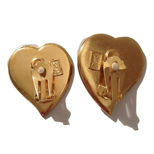 Image of SOLD OUT Yves Saint Laurent Vintage Poured Glass and Swarovski Crystal Heart Earrings