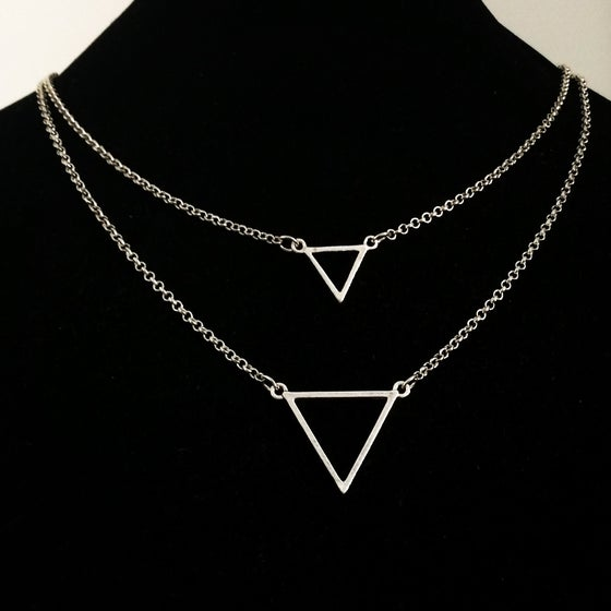 Image of Double drop triangle necklace