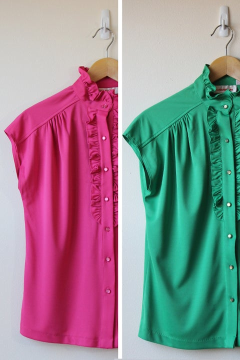 Image of SALE (Green sold) Ruffle Me Pink Or Green Blouse (Orig $22)