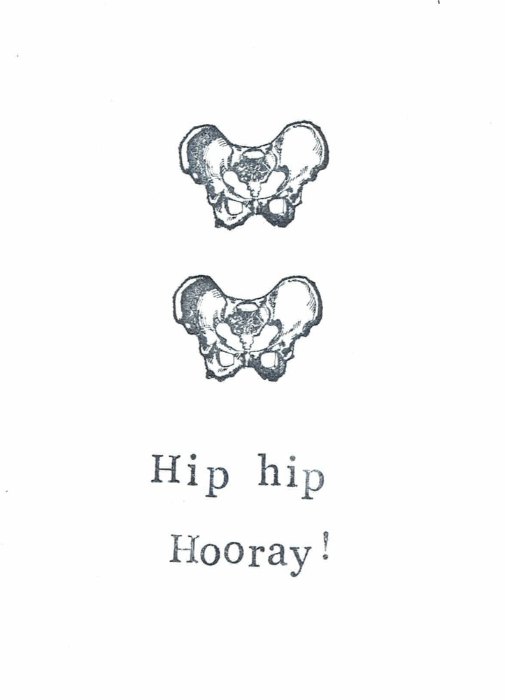 Image of Funny Skeleton Anatomy Card - Hip Hip Hooray