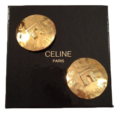 Image of SOLD OUT Celine Paris Earrings -Vintage Celine Paris gold clip earrings Arc de Triomphe MINT