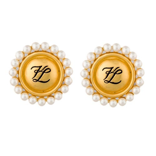Image of SOLD OUT Karl Lagerfeld Pearl and Brushed Gold Black Logo Earrings