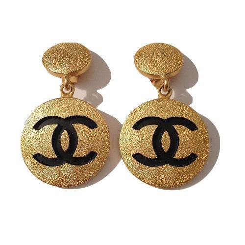 Image of SOLD OUT Chanel Earrings - Authentic Vintage Huge CC Logo Clip On Earrings in NEW CONDITION