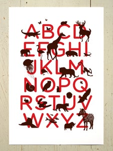 Image of Alphabet art print for the nursery - Red and Brown