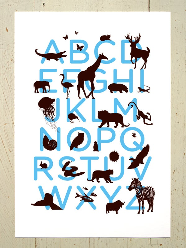 Image of Alphabet art print for the nursery - Blue and Brown