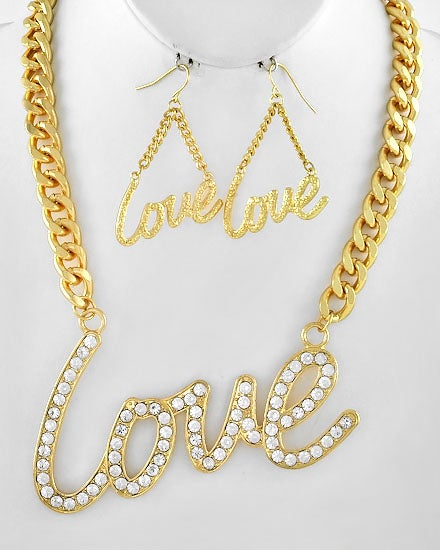 Image of Love Pendant necklace earring set