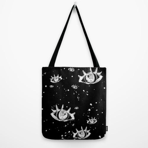 Image of Eyes Galaxy Tote Bag (White/Black)