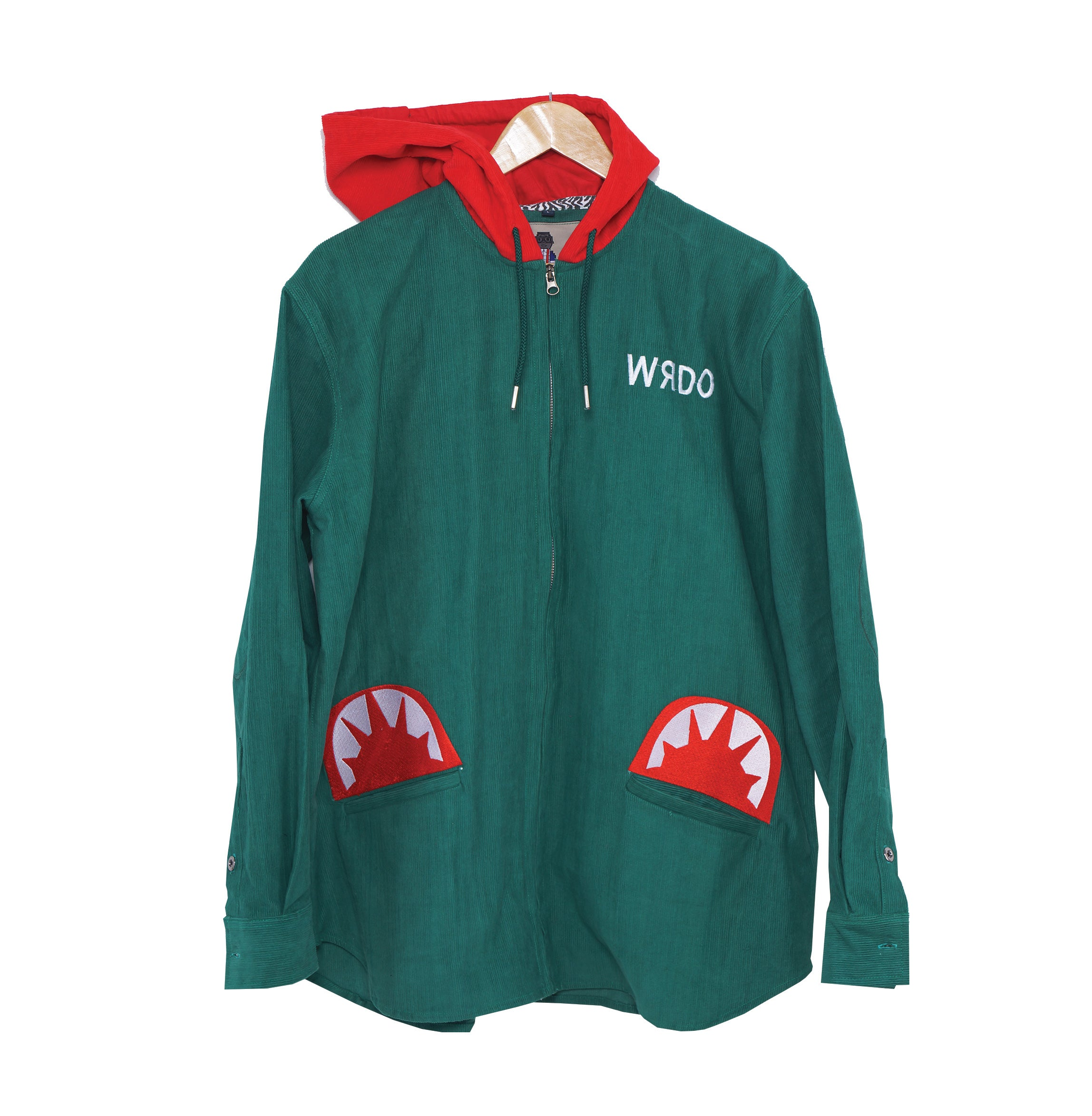 Le Corduroy Shark Teeth Hoodie (Green) / RichWierdo Clothing