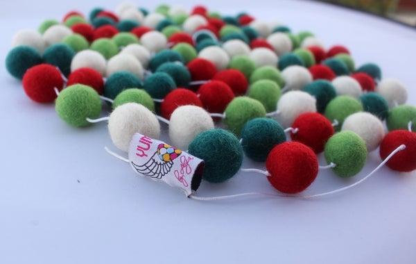 Image of Christmas Felt Ball Garland