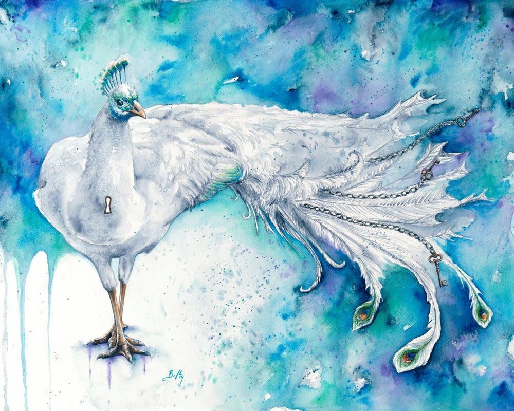 Image of Purity Unchained - Giclee Fine Art Print, White Peacock