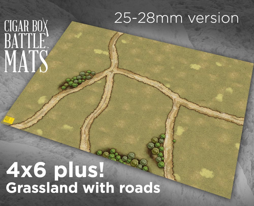 Image of Grassland Gaming Battle Mat with Roads --  4'x6' plus  -- #104