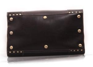 Image of Vintage Large Handmade Superior Leather Travel Bag / Tote / Luggage / Duffle Bag (n91)