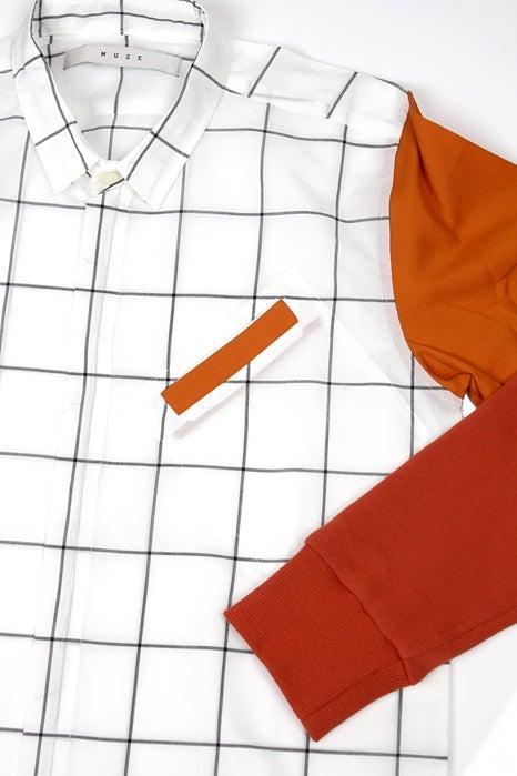 Image of SWEAT SLEEVE LONG SHIRTS-CHECK ORANGE
