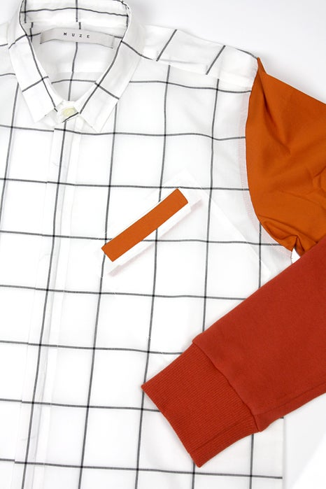 Image of SWEAT SLEEVE LONG SHIRTS-CHECK ORANGE