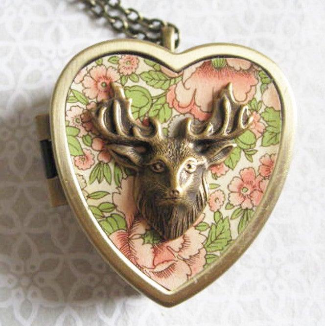 Image of Stag Musical Locket - bronze pink floral