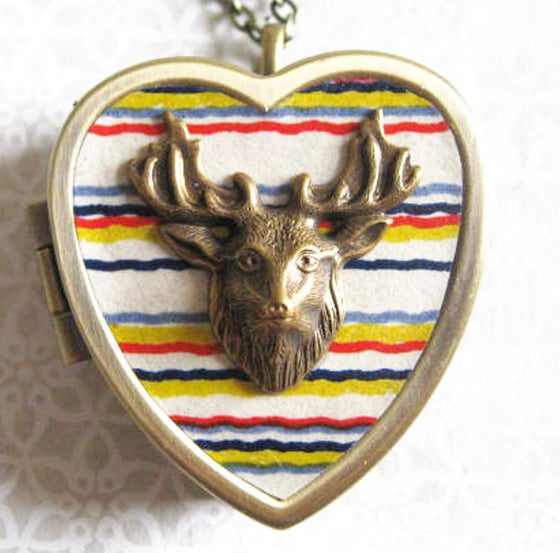 Image of Stag Musical Locket - white stripes