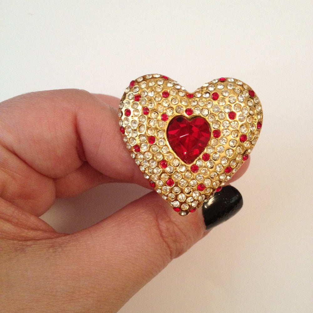 Image of SOLD OUT Escada Earrings - Signed Authentic HUGE Vintage Swarovski Heart Earrings on SUPER SALE