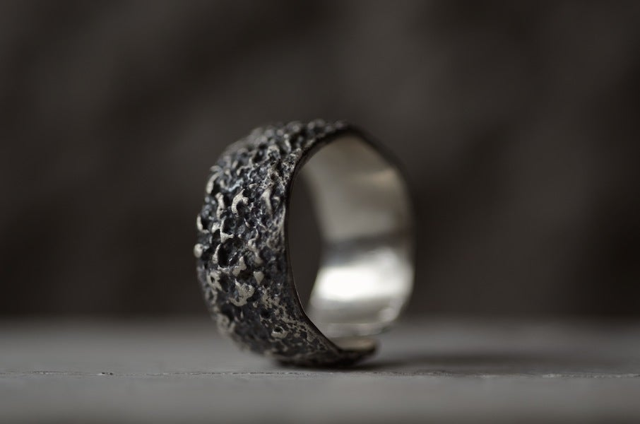 Image of OXYDE - dark textured silver band. Wabisabi inspired