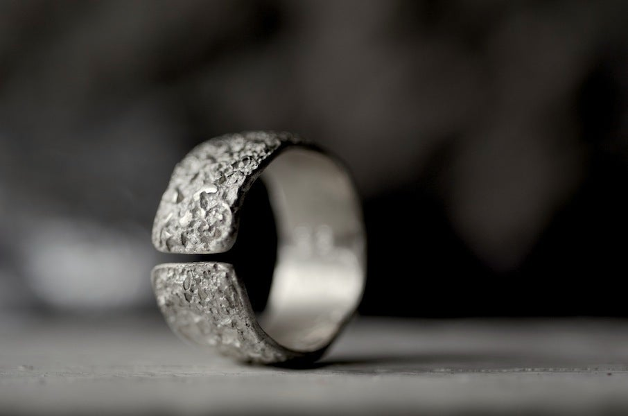 Image of OXYDE - raw silver finish, sterling band. Wabisabi inspired