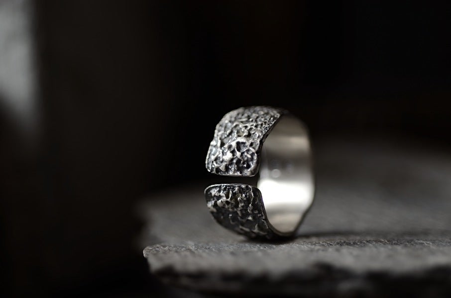 Image of OXYDE - wide textured silver band. Wabisabi inspired